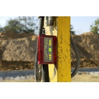 small robust machine control receiver can attach to levelling rod or directly to a machine.